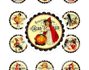 Vintage Halloween Witches Pumpkin Candy Cat Girl Tea Party Children Cupcake Topper Circle Label Gift Tag Sticker Digital Collage Image Sh129