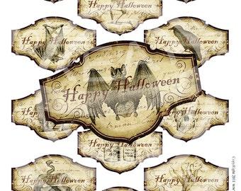 Halloween Spider Ghost Skeletons Cat Bat Poison Celebrate Tea Party Cupcake Topper Label Sticker Gift Tag Digital Collage Sheet Images Sh180