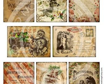8 Vintage Christmas Celebrate Party Santa Deer Stocking Children Boy Girl Postcard Gift Tags Labels Card Digital Collage Sheet Images Sh179