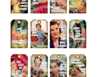 Vintage Retro Lady Woman Sexy Pin Up Girl 1950s Christmas Stocking Tea Party Gift Tag Label Card Digital Collage Sheet Images Sh221