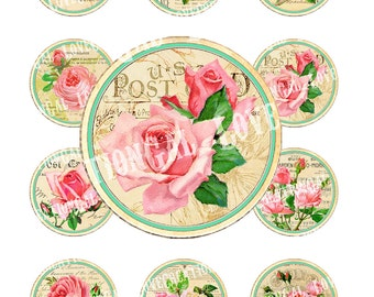 Vintage Rose Flowers Tea Party French Antique Cupcake Topper Circle Bottle Cap card Labels Stickers Digital Collage Sheet Images Sh236