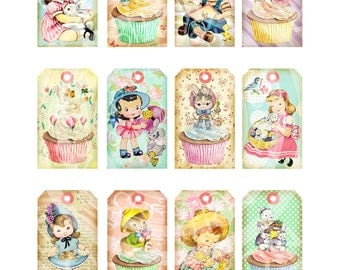 Vintage Shabby Chic Easter Bunnies Chick Boy Girl Children Handmade Cards Tea gift Tags Digital Party Favor Banner clip art Images Sh242