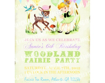 Woodland Animals / Fairy / Girl / Deer / Birthday Party Invitation / Garden Party / Tea Party Invite / Digital PRINTABLE Invitation  IN25