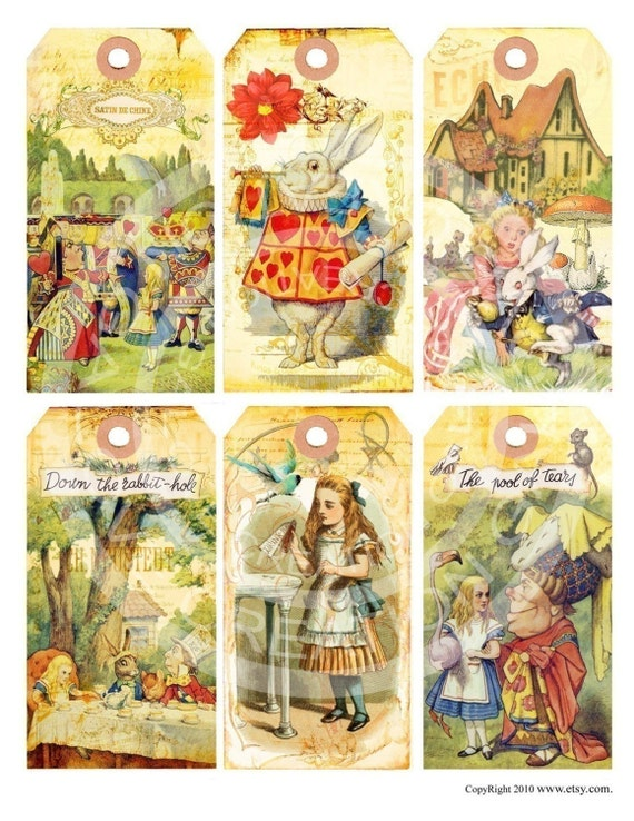 Vintage Shabby Alice in Wonderland Bunnies Tea Birthday party Children illustration book Cards Tags Digital Collage Sheet Images Sh011