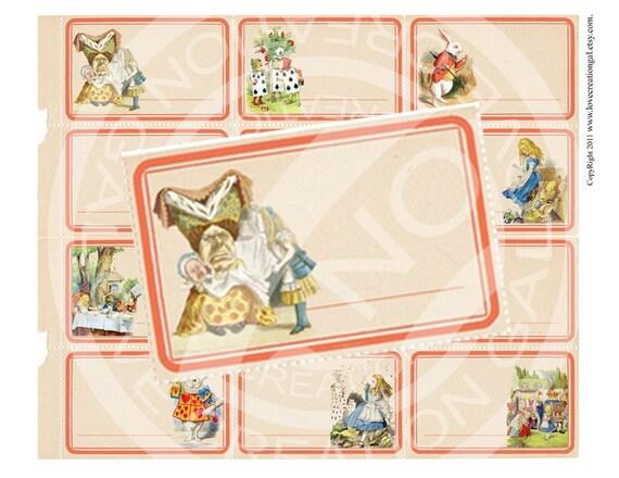Vintage Shabby Alice in Wonderland Birthday Tea Party Easter Bunny Children Story book Label Sticker Digital Collage Sheet Images Sh069