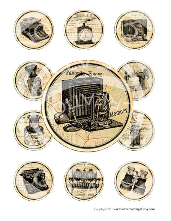 Vintage French Camera Typewritter Birthday Tea Wedding Party Cupcake Topper Circle Labels Stickers Tags Digital Collage Sheet Images Sh063