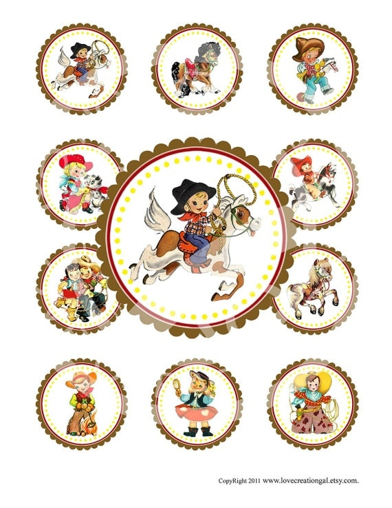 Vintage CowBoy CowGirl West Wild Celebrate Tea Story Book Cupcake Cake Topper Circle Label Stickers Tags Digital Collage Sheet Images Sh077