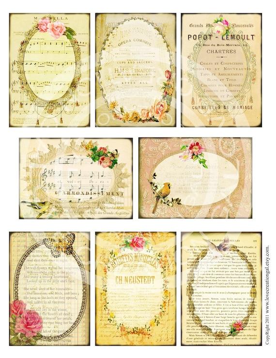 8 Vintage Victorian Flower Rose Frames Postcard ledge Border French Background Gift Tags Labels Cards Digital Collage Sheet Images Sh101