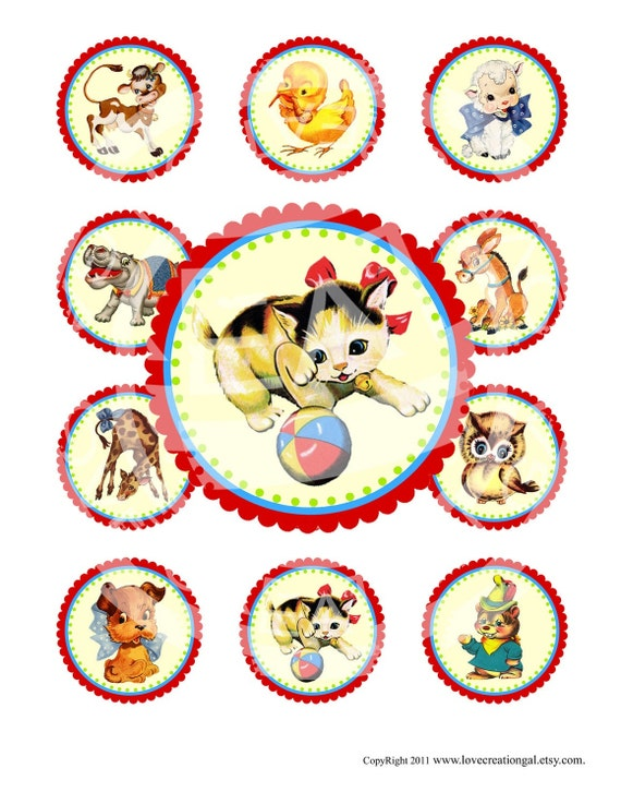 Vintage Retro Animals Kitty Cat Tea Party Bunny Eggs Chick Owl Cupcake Toppers Circle Labels Tags Digital Collage Sheet Images Sh072