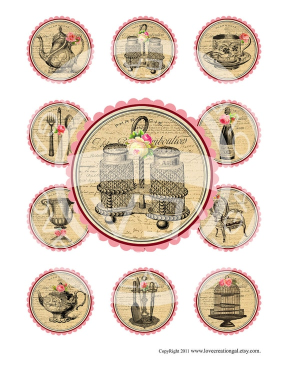 Digital Collage Sheet / Vintage French Roses / Tea Cup / Kitchen / Birthday / Tea Party / Cupcake Topper / Label / Sticker / Gift Tag /Sh168