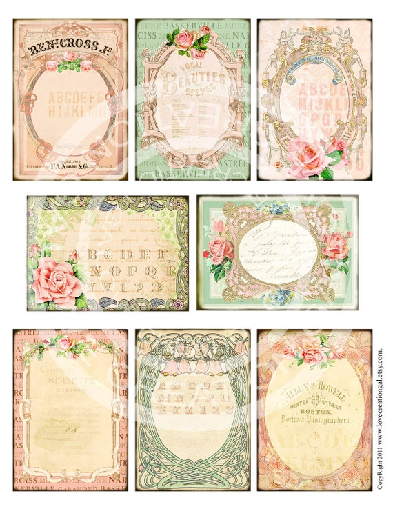 Vintage Victorian Flower Rose Handmade Postcard ledge Border French Shabby Frame Gift Tag Box Label Card Digital Collage Sheet Images Sh182