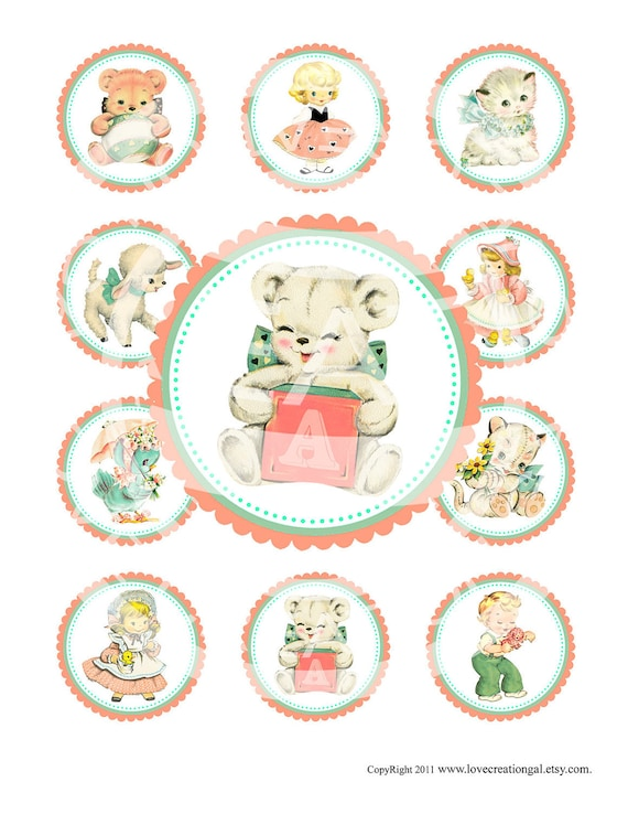 Vintage Baby Boy Girl Teddy Bear Lamb Celebrate Tea Party Children Cupcake Topper Circle Label Sticker Tag Digital Collage Sheet Image Sh212