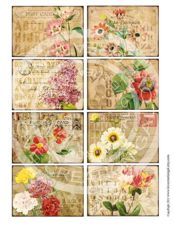 Vintage Flower Rose Botanical ledge French Postcards Stamps ACEO ATC Background Gift Tags Labels Card Digital Collage Sheet Images Sh233