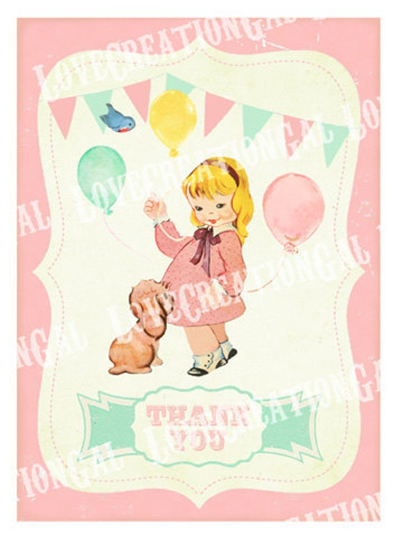 Vintage Girl and Puppy Birthday Thank you Notes / Dog / Girl / Bird / Cake / Baby Shower Thank you Card / Birthday Banner / Tea Party  Sh252