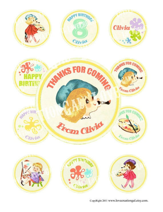 Digital PRINTABLE Vintage Celebrate Birthday Art Party Artist Girl Daughter Cupcake Cake Topper Circle Label Tags Sheet Images Sh253