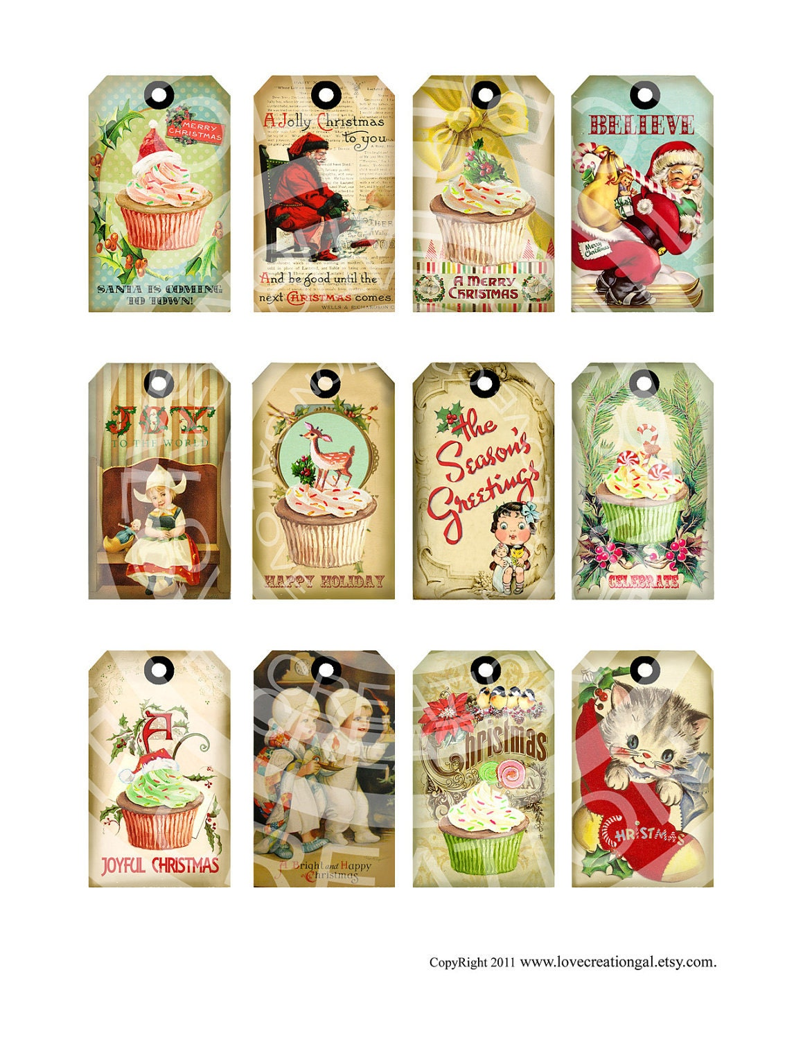 It is a photo of Peaceful Vintage Christmas Gift Labels