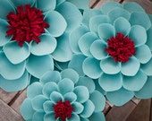 SALE Aqua and Red Wallflowers (set of 3)
