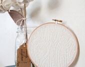 White on White Faux Bois Embroidery