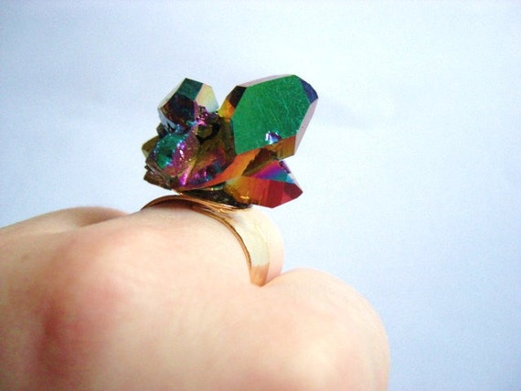 Galaxy Ring --  Rainbow Aura Quartz on 24k gold plated band-- Adjustable