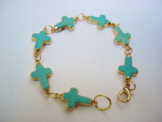 M A R Y // Gold Plated Turquoise Cross Bracelet