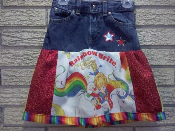 Kids Patchwork Rainbow Brite jean skirt 4