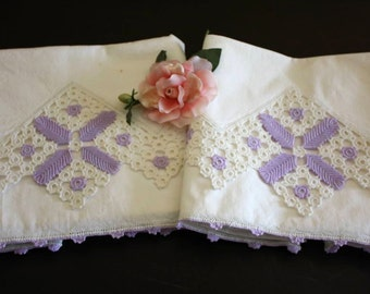 Antique Pillowcase Pair Lavender Crochet Edge