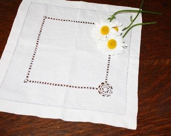 Antique Doily Fine Linen Drawn Thread Needle Lace Monogram H