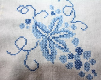 Vintage Luncheon Tablecloth Embroidered Blue on White Grapes