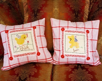 Pair of Vintage Pillow Covers Handmade with Unused Vintage Fabrics and Quilt Blocks - 2