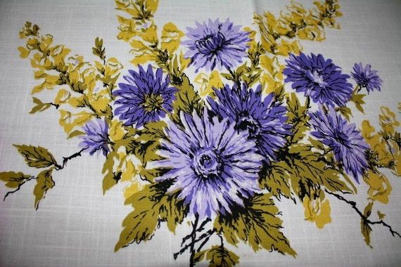Vintage Tablecloth Purple Zinnias and Yellow Forsythia