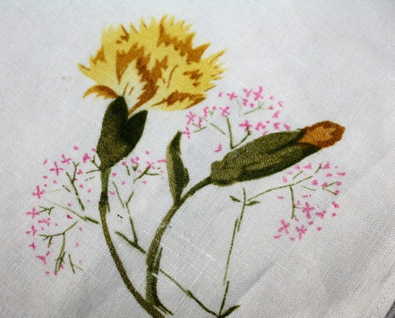 4 Vintage Napkins Linen Yellow Carnations With Tags Germany Pre War