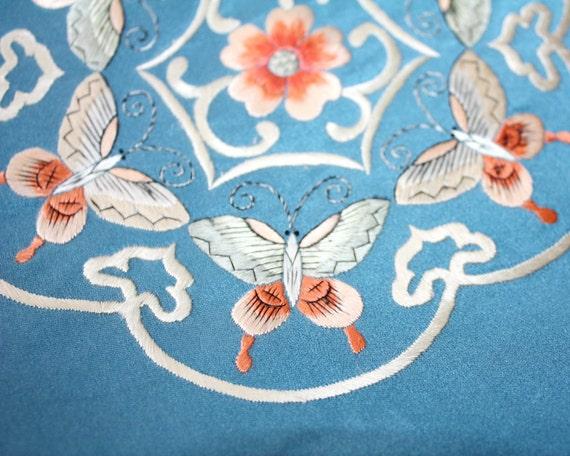 Antique Silk Embroidered Pillow Cover Butterflies Flowers Asian