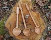 Primitive Cherry Wooden Spoon Made with Traditional Hand Tools