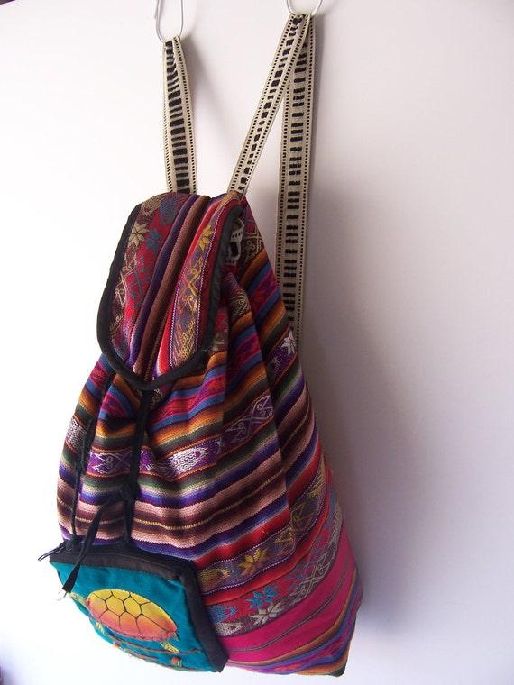 Vintage Southwestern Aztec Bucket Backpack