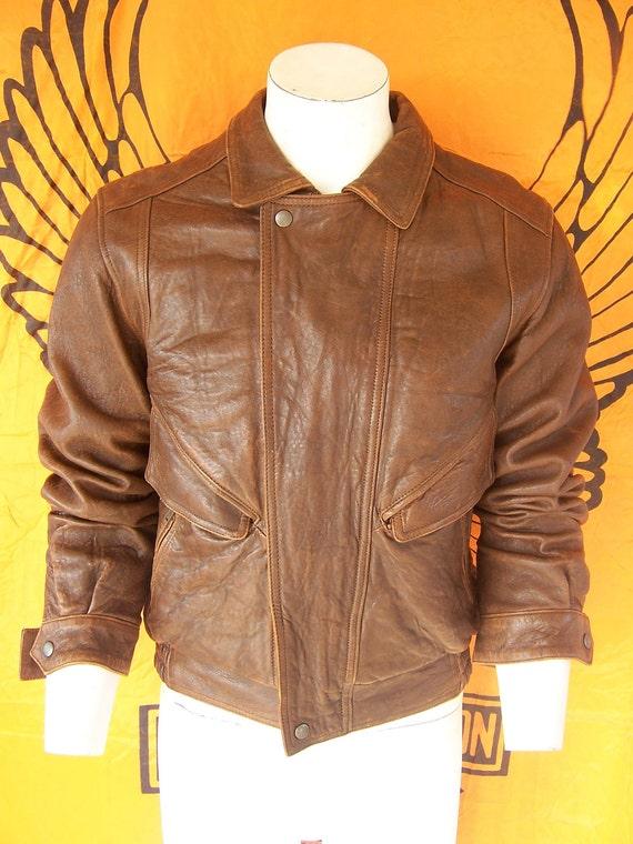 vintage 80s elliot kastle rage bomber leather jacket