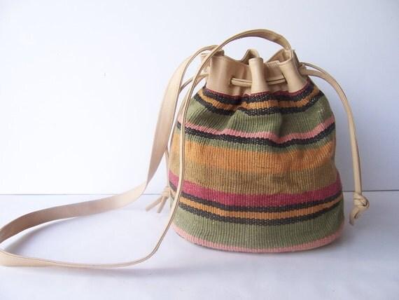 Vintage Southwestern Drawstring Tote Bag
