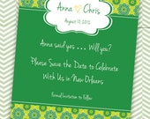 Customizable Save the Date or Invitation for Party or Shower (Green Dutch Design) - Digital File