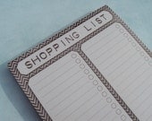Magnetic Shopping List Note Pad - Grocery List - Chevron Stripe Design - 50 Sheets