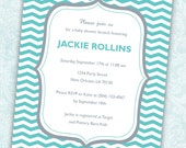 Customizable Blue and Grey Shower or Party Invitation (Blue Chevron Design) - Digital File