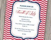 Customizable Red, White & Blue Chevron Zig Zag Stripe 4th of July, Birthday or Party Invitation - Digital File