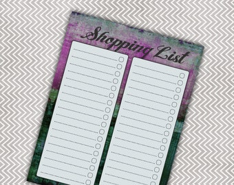 CLEARANCE!!  Magnetic Shopping List Note Pad - Grocery List - Purple and Aqua Design - 50 Sheets