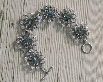 Sky Blue Bracelet - Sterling Silver Wire Crochet Bracelet - Rustic Wedding - Blue Swarovski Crystal - Blue Crystal Bracelet