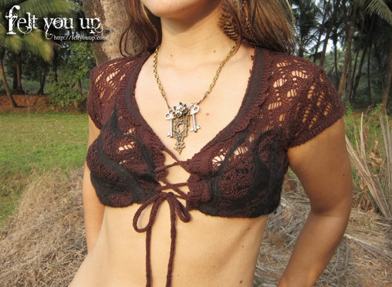 Maroonish Chocolate Flame Nuno Felt Crochet Vest