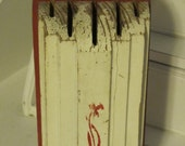 Antique Wooden Knife Block in White and Red