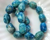 "Blue Magnesite Puffed Barrel Beads  Full Strand 14"" - wildworldofbeads"