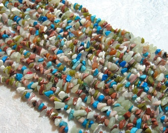 "Multi Gemstone Chip Beads, 34"" Strand Blue"