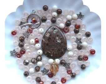 Bead Kit Mica Quartz Riverstone Glass Pewter Silver Pendant Focal Bead Kit Necklace Jewelry DIY Beads a Plenty™