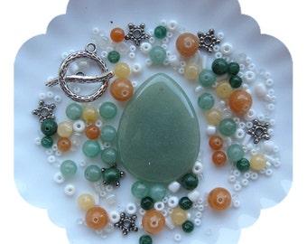 Beads a Plenty, Green Yellow Red Aventurine Glass DIY Jewelry Kit Craft Supplies Pendant Focal Silver Pewter Bead Kit DIY