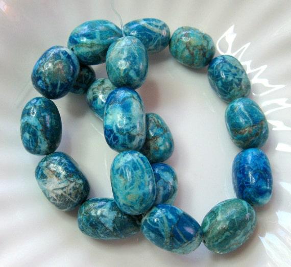 "Blue Magnesite Puffed Barrel Beads  Full Strand 14"""