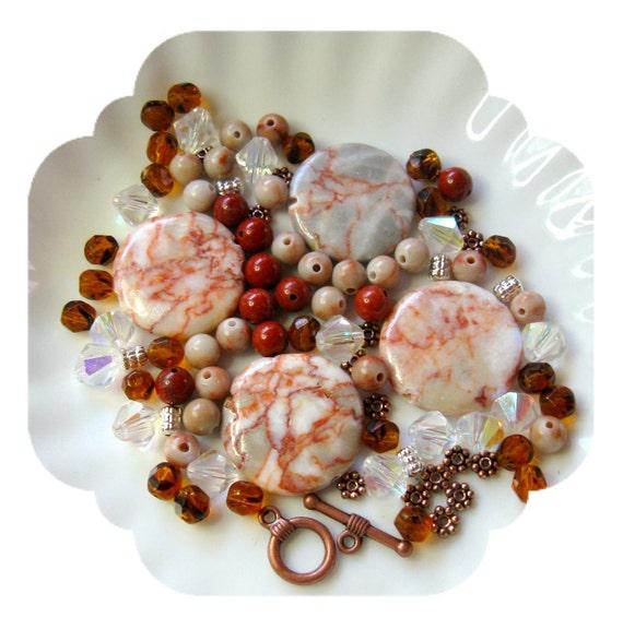 Bead Kit Red Vein Jasper Marble Red Jasper Czech Pendant Necklace Design Supplies Beads a Plenty™